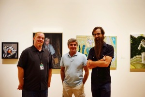 Invisible College Opening  Andrew Hosner from Thinkspace Gallery, Charles Shepard director of FWMoA, Josef Zimmerman