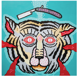 Painting of a cut-off tiger head, floating to the bottom of the sea